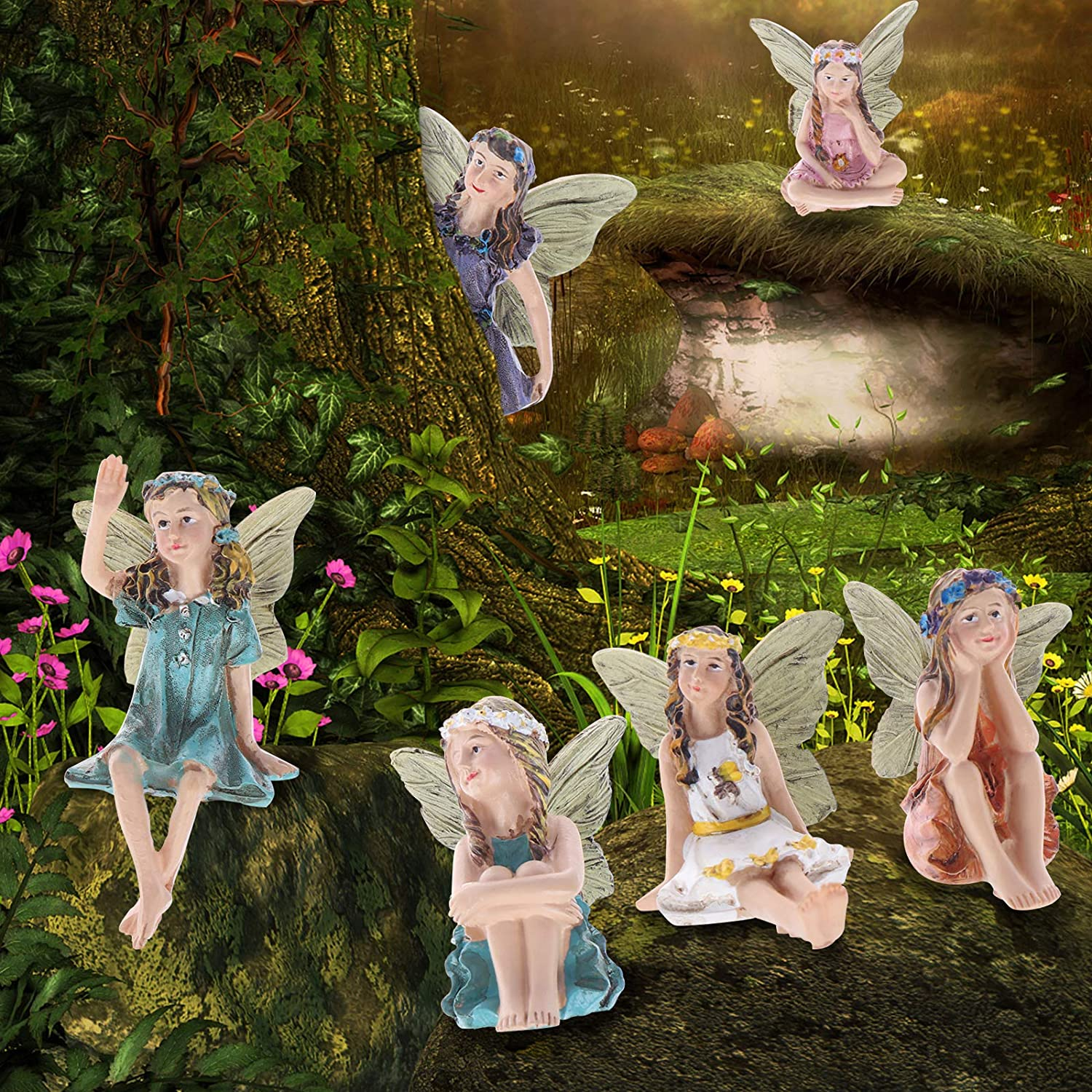 6-Pack Flower Fairy Pixie Fly Wing Miniatures Resin Flower Fairy Figures Figurines Fairy Garden Accessories Dollhouse Ornament Garden Decoration