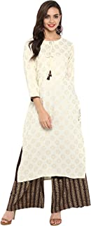 Janasya Women's Cream Rayon Kurta With Palazzo