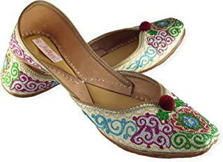 Fulkari Women's Soft Leather Bite and Pinch Free V Shape Zarri Cut Work Embroidered Comfortable Casual Jutis Ethnic Flat Shoes