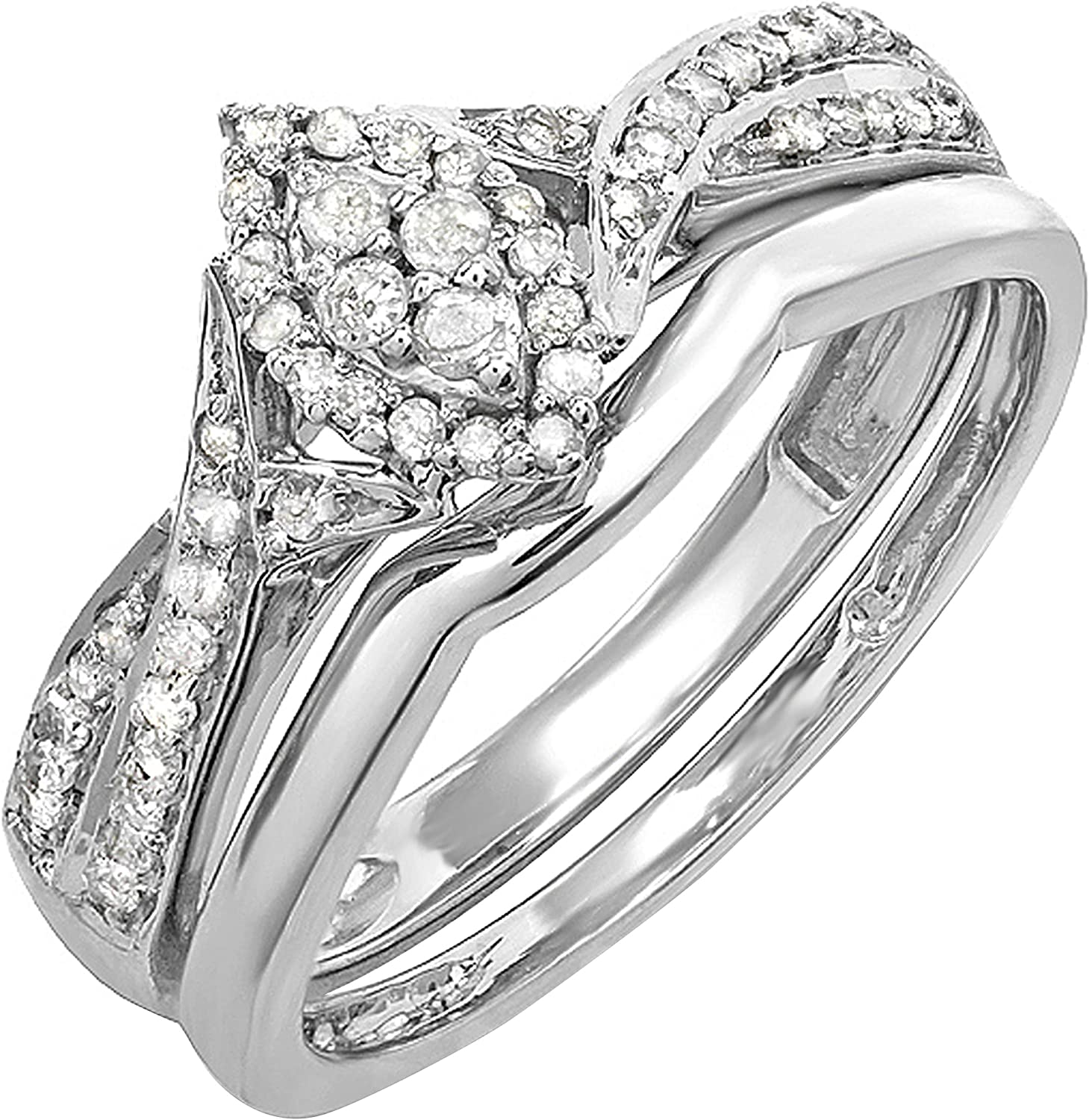 Dazzlingrock Collection 0.33 Carat (ctw) Round White Diamond Marquise Shape Bridal Engagement Ring Set 1/3 CT, Sterling Silver : Clothing, Shoes & Jewelry
