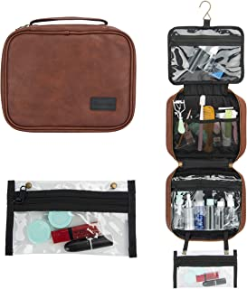 Large Travel Hanging Toiletry Bag with Detachable TSA Small Clear Bag for Men/Women, Organizer Dopp kit for Travel Accessories, Makeup, Shampoo, Cosmetic, Bathroom Storage with Hanging Hook Brown