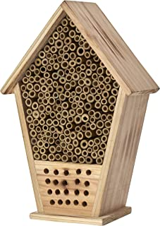 Homestead Essentials Native Mason Bee and Leafcutter Bee House | Bamboo Hollow Tubes and Flame-Treated Wood | Tree or Wall...