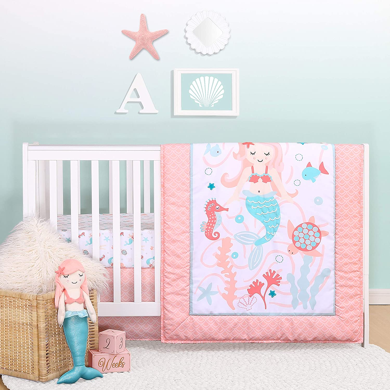 The Peanutshell Purchase Award Mermaid Kisses Crib Baby Set for Girls Bedding