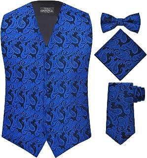 Men's 4 Piece Paisley Vest Set, with Bow Tie, Neck Tie & Pocket Hanky