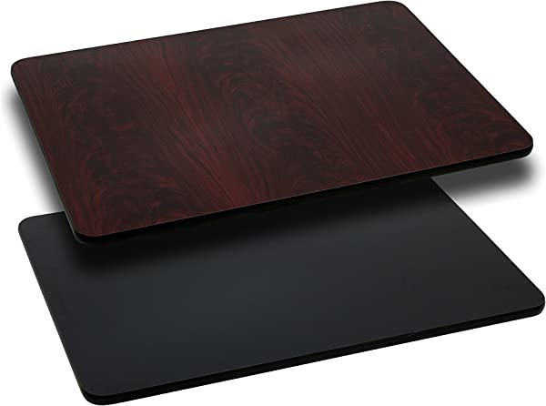 Flash Furniture 24 X 30 Rectangular Table Top With Black Or Mahogany Reversible Laminate Top