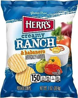Herr Foods Creamy Ranch Habanero Potato Chips, 1 Ounce -- 42 per case.