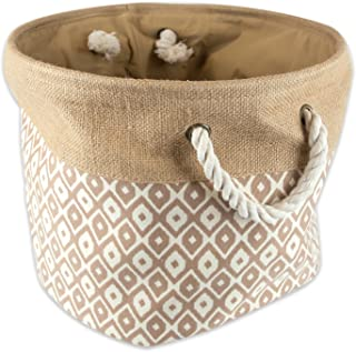 """DII Collapsible Burlap Storage Basket or Bin with Durable Cotton Handles, Home Organizational Solution for Office, Bedroom, Closet, Toys, & Laundry (Large Round – 16x15""""), Brown Ikat"""