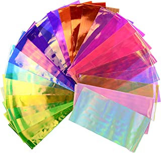 Beaute Galleria 24 Pieces Mixed Colors Nail Art DIY Holographic Shattered Broken-Glass Reflective Mirror Shard Effect Rainbow Thin Iridescent Cellophane Films Foils