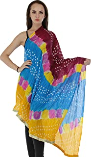 Exotic India Multicolored Bandhani Tie-Dye Crinkled Dupatta with Gota Border - Color Boysenberry