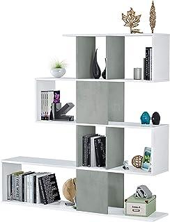 Habitdesign 1L2251A - Estantería Comedor, librería Auxiliar Salon con estantes, Modelo Zig Zag, Medidas: 45 x 145 x 29 cm de Fondo (Blanco Artik y Gris Cemento)