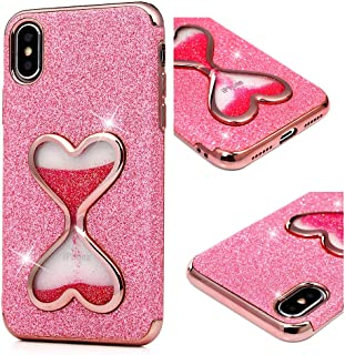 iPhone Xs Case, iPhone X Liquid Glitter Case Love Hearts Bling Shiny Sparkle Flowing Moving Cover Clear Ultral Slim Protective TPU Bumper Shockproof Drop Resistant Protective Case for iPhone Xs