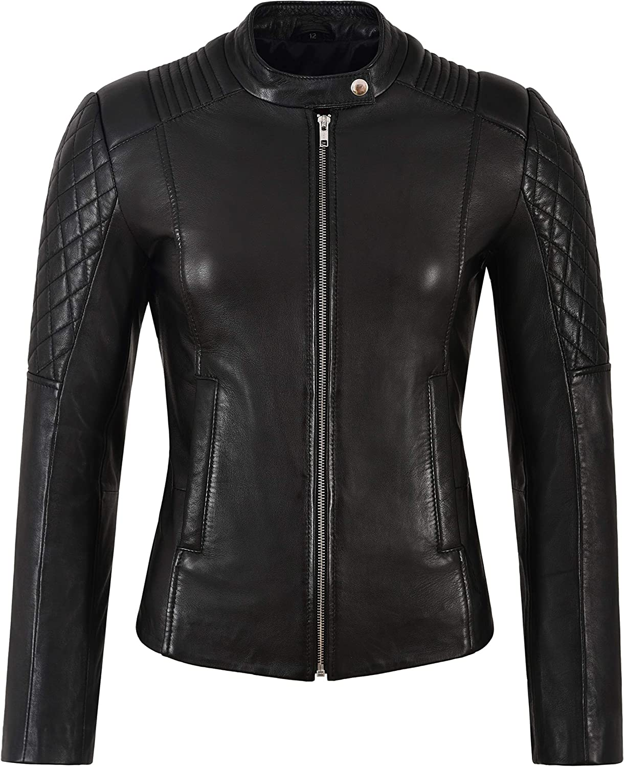 Ladies Leather Jacket Black Quilted Biker Fashion Real Lambskin Leather 9565