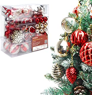 Homde Christmas Balls Ornaments 77ct for Xmas Tree Shatterproof Christmas Tree Decorations with Hanging Rope (Red & Gold)