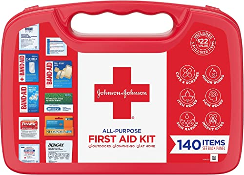 Johnson & Johnson All-Purpose First Aid Kit, Portable Compact First Aid Set for Minor Cuts, Scrapes, Sprains & Burns,...