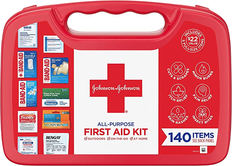 Johnson Johnson All Purpose Portable Compact Emergency First Aid Kit For Travel Home Car 140 Pc