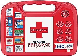Johnson & Johnson All-Purpose First Aid Kit, Portable Compact First Aid Set for Minor Cuts, Scrapes, Sprains & Burns, Idea...