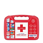 Band-Aid Johnson & Johnson All-Purpose Portable Compact Emergency First Aid Kit for Travel Home & Car, 140 pc