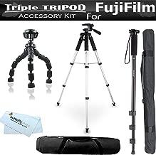 Triple Tripod Accessory Bundle Kit For Fuji Fujifilm Finepix S8200, S8300, S8400, S8500, SL1000, HS50EXR, X-E2, X100S, XP60, S6800 S8600 S9200 S9400W S9800 S9900W QX2, X-A2, X-T1 Digital Camera