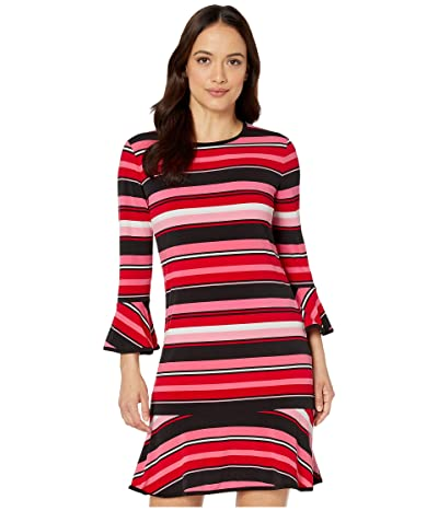 MICHAEL Michael Kors Petite Stripe Flounce Dress (Camelia Rose) Women