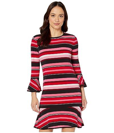 MICHAEL Michael Kors Petite Stripe Flounce Dress (Camelia Rose) Women