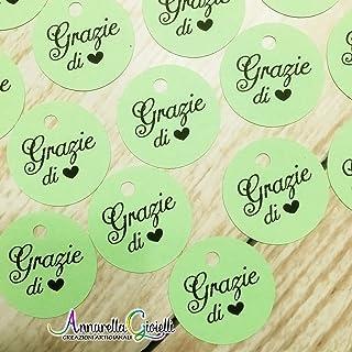 50 pezzi Cartellini Stampati Verde per bomboniera, 3 centimetri, tag Grazie, tondo, etichette, nascita, battesimo, cresima...