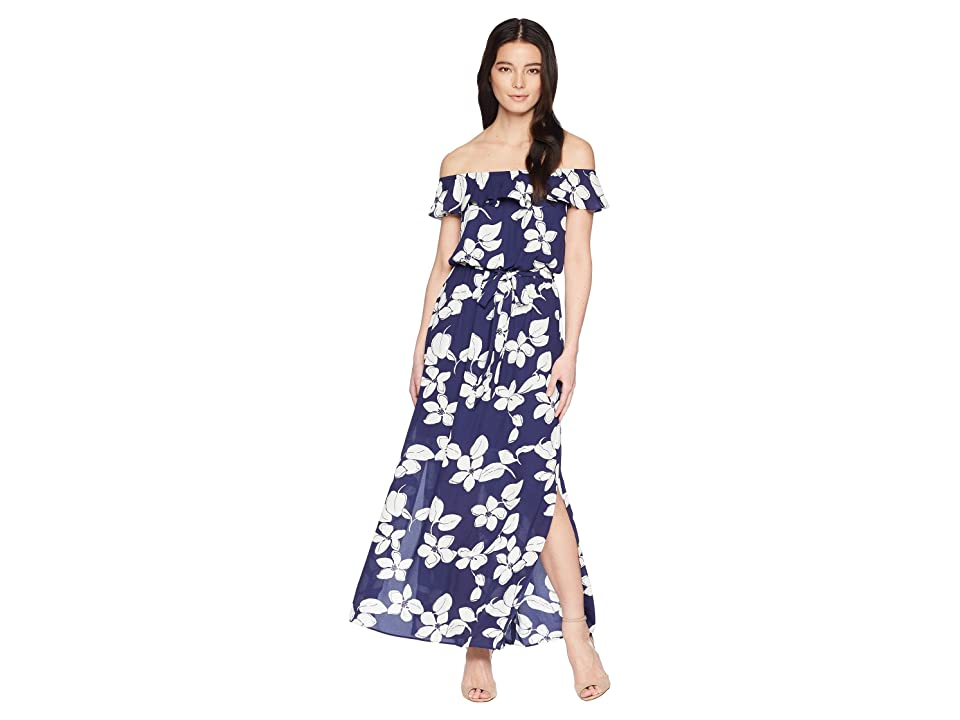 Adrianna Papell Petite Simple Delight Ruffle Maxi (Blue Multi) Women