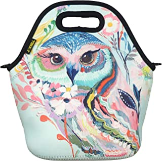 Neoprene Lunch Bag, Cute lunch bags for Women Kids Girls Men Teen Boys, Insulated Waterproof Lunch Tote Box for Work School Travel and Picnic (Red Owl)