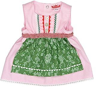 Eisenherz Mädchen Trachtenkleid Dirndl Baby Tracht mit angenähter Schürze rosa/grün