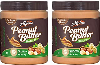 Alpino Natural Peanut Butter Crunch 1Kg (Unsweetened) and Alpino Natural Peanut Butter Smooth 1Kg (Unsweetened)