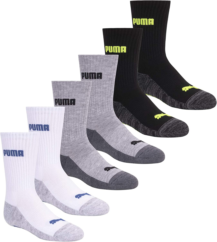 PUMA Boys' 6 Pack Crew Socks