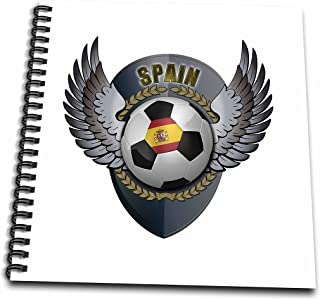 3dRose db_158042_1 Spain Soccer Ball with Crest Team Football Spanish Drawing Book, 8 by 8-Inch