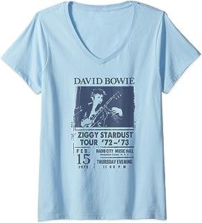 Femme David Bowie - Radio City T-Shirt avec Col en V