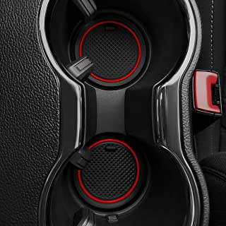 Custom Fit Cup and Door Compartment Liner Accessories for Ford Mustang 2016 2017 2018 2019 2020 5-pc Set (Red Trim)