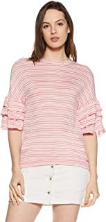 VERO MODA Women's Striped Loose Fit T-Shirt