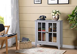 American Furniture Classics OS Home and Office Dark Gray Glass Door Accent and Display Cabinet, Dark Gray Paint