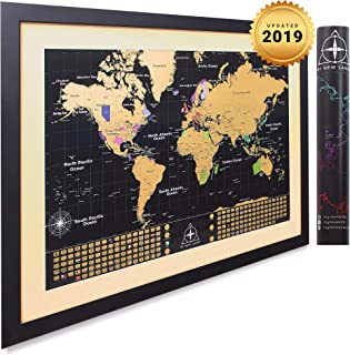 MyNewLands Gold Scratch Off World Map Wall Poster with US States and Flags, 17x24 inches, Includes Pins, Buttons and Scratcher, Glossy Finish, Black with Vibrant Colors