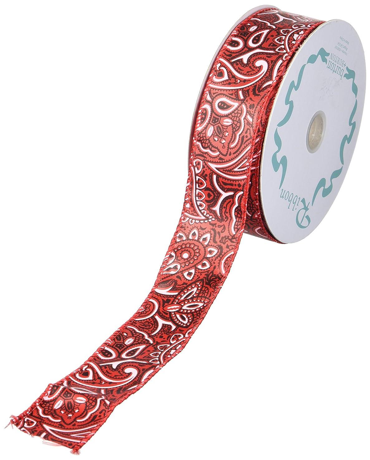 Western Bandana Pattern on Red Satin Ribbon, 20 Yard Roll