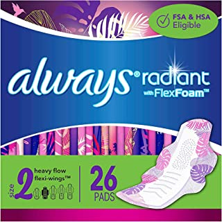 Always Radiant Feminine Pads for Women, Size 2, 78 Count, Heavy Flow Absorbency, with Flexfoam Wings, Light Clean Scent, 2...
