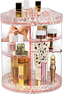 Sorbus Rotating Makeup Organizer, 360° Rotating Adjustable Carousel Storage for Cosmetics, Toiletries, and More — Great for Vanity, Bathroom, Bedroom, Closet, Kitchen (Pink)