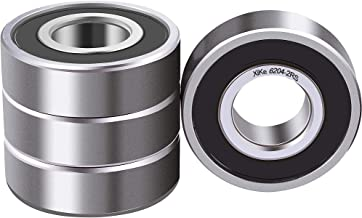 XiKe 4 Pcs 6204-2RS Double Rubber Seal Bearings 20x47x14mm, Pre-Lubricated and Stable Performance and Cost Effective, Deep Groove Ball Bearings.