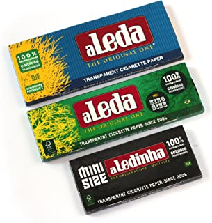 aLeda 3 booklets 3 different clear Cellulose rolling paper from Brazil = 140 leaves