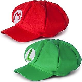 comprar comparacion Katara Disfraz Super Mario Bros Niños / Adultos, Juego de 2 Gorras - Mario, Roja y Luigi, Verde