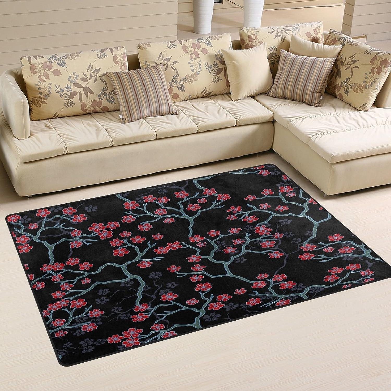 WOZO Cherry Blossom Branch Area Rug Rugs Non-Slip Floor Mat Doormats Living Room Bedroom 60 x 39 inches