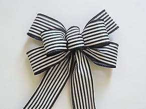 Merry Monogram Wreath Striped Bow
