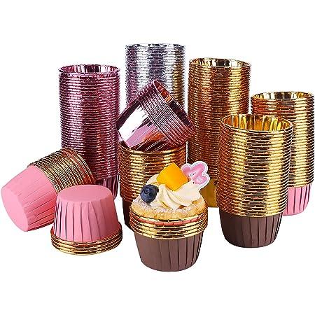 Tanshtechy 250 Pièces Caissettes Cupcakes,Moules de Cuisson en Papier d'aluminium,Caissettes de Pâtisserie,Caissettes Papier Muffins(Golden)