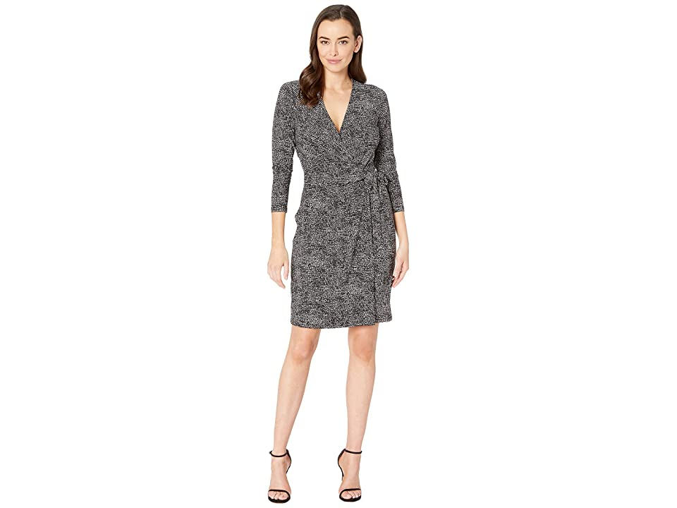 Anne Klein Printed ITY Classic Wrap Dress (Anne Black/Anne White) Women