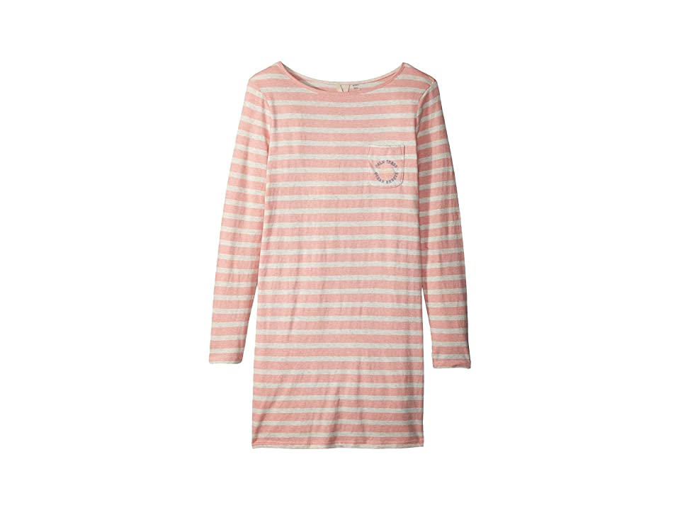 Roxy Kids Spin With Me Long Sleeve Tee Dress (Big Kids) (Rose Tan Heather/Bico Stripes) Girl