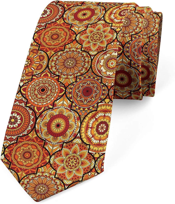 Ambesonne Men's Tie, Floral Motifs Ottoman, Necktie, 3.7