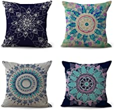 ENCOFT Alicemall Bohemian Throw Pillow Covers European Retro Mandala Print Black and Green Paisley Decorative Pillow Cases for Couch, 18 x 18 inches, Pack of 4 (Mandala Black&Green)