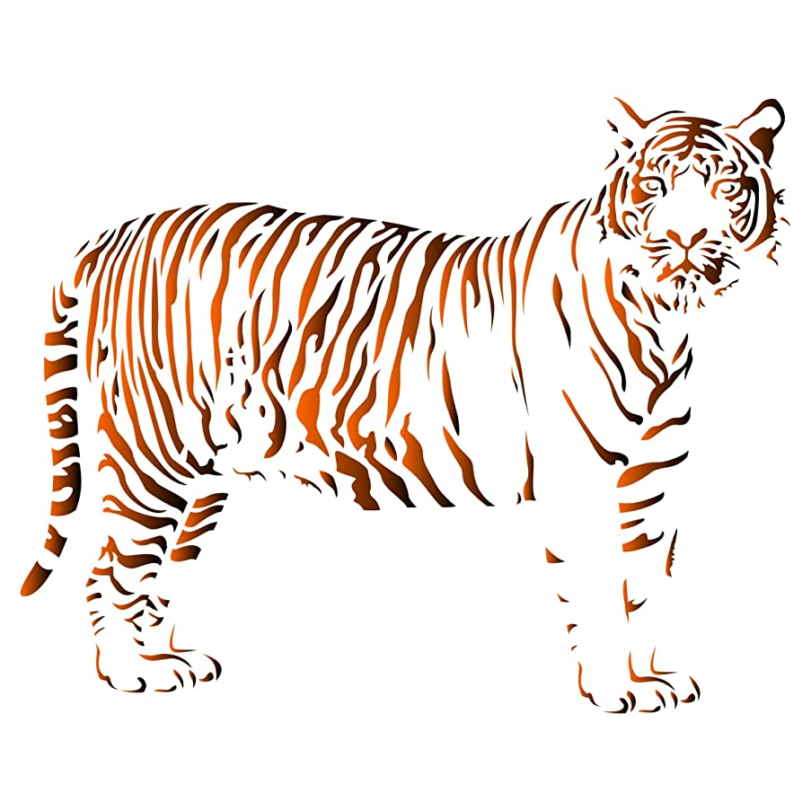 Tiger Stencil - 8 x 6.5 inch (S) - Reusable African Animal Wildlife Stencils for Painting - Use on Walls, Floors, Fabrics, Glass, Wood, and More…